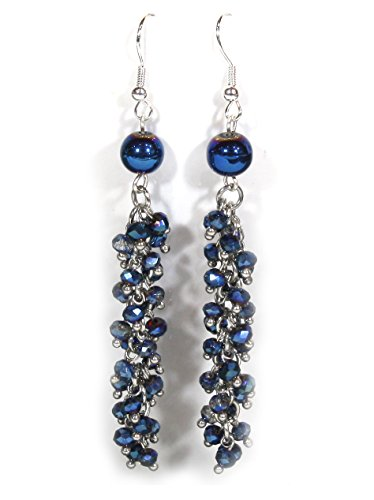 Style-ARThouse Midnight Blue, Sparkly Rhinestone Tassel Earrings, Dangle 3.0 Inches