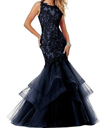 Promkleid Abendkleider Spitze Damen Tintenblau Abendmode Tuell Mermaid Ivydressing Festkleid cCqpvP6