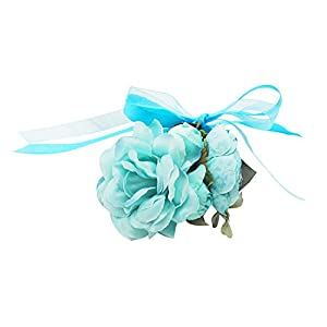 Lovful Pack of 2 Big Flower Bridesmaid Wedding Wrist Corsage Party Prom Hand Flower Wristband,Blue 85