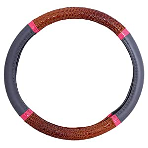Steering Wheel Cover Accessories - Brown and Gray, M