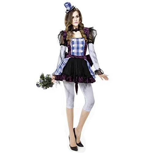 [ZNFQC Women Zombie Circus Clown Halloween Ghost Bride Costume] (Funky Punk Bones Adult Costumes)