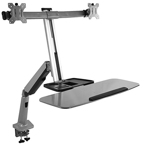 VIVO Dual Monitor & Keyboard Counterbalance Sit-Stand Desk Mount | Ergonomic Standing Transition Workstation for 13