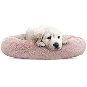 SHU UFANRO Small Dog Bed Round Puppy Bed Orthopedic Soft Pet Bed Pillow Donut Cuddler Washable Cat and Dog Cushion Bed (23″ x 23″) (Pink)