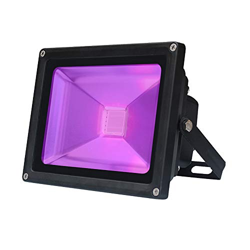UV Black Light, AZIMOM High Power 10W Outdoor UV LED Flood Light IP65-Waterproof (85V-265V AC) for Party Supplies, Stage Lighting, Body Paint, Fluorescent Poster, Neon Glow in The Dark ()