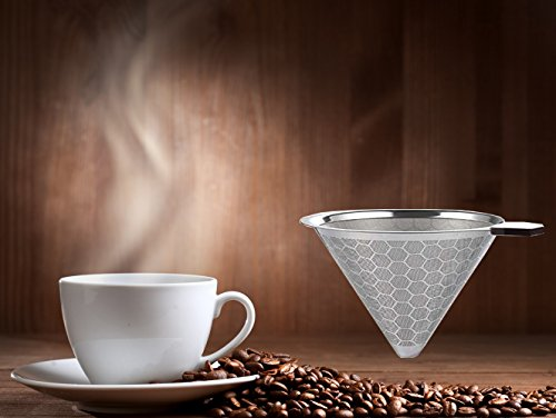 Reusable Stainless Steel Coffee Filter – AINOK Stainless Steel Pour Over Coffee Dripper with Double Layered Filter,Reusable Coffee Filter with Removable Cup Stand,Brush and spoon. by AINOK (Image #5)