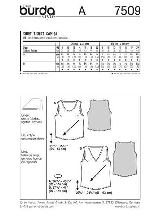 Misses T-Shirt Sizes Burda Ladies Sewing Pattern 7509 8-20