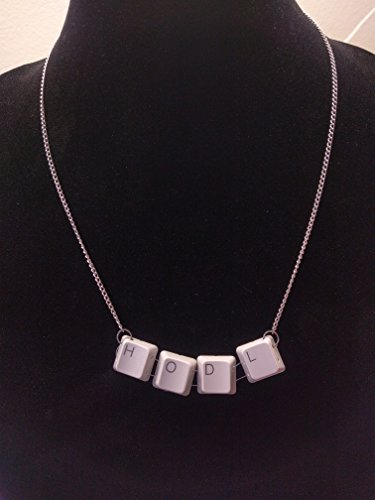 HODL cryptocurrency keyboard necklace recycled computer jewelry btc ltc eth