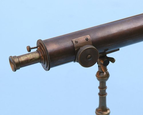 10-inch Antique Patina Brass Victorian Desk Telescope by Stanley London (Image #1)