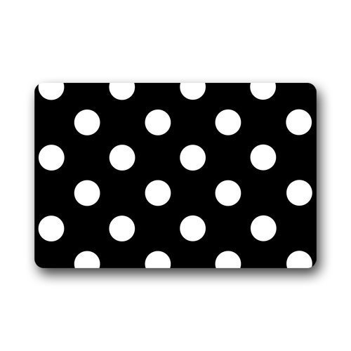 Cloud Dream Polka Dot Black White Door Mats Kitchen Floor Bath Entryway Rug Mat Absorbent Indoor Bathroom Decor Doormats Rubber Non Slip 18x30 inch