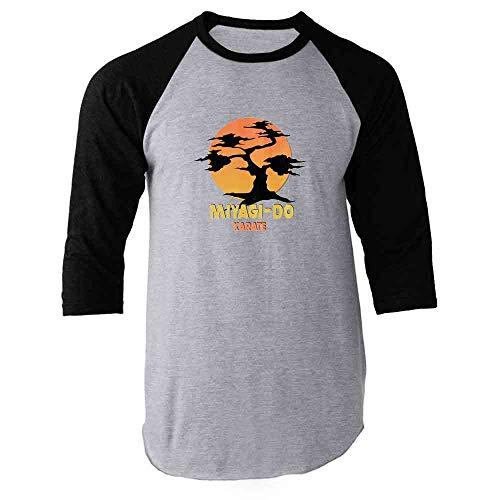 Karate Kid Miyagi-Do Dojo Bonsai Sunset Costume Black XL Raglan Baseball Tee Shirt ()