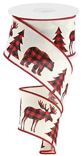 1 ROLL - Buffalo Plaid Moose, Bear, and Trees - Wired Edge Ribbon, 2.5
