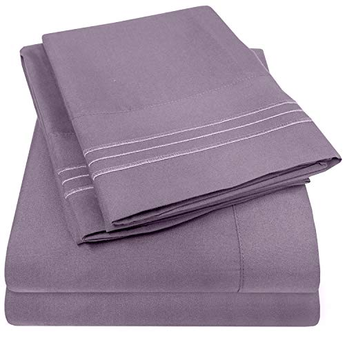 1500 Supreme Collection Extra Soft Twin XL Sheets Set, Plum - Luxury Bed Sheets Set with Deep Pocket Wrinkle Free Hypoallergenic Bedding, Over 40 Colors, Twin XL Size, Plum