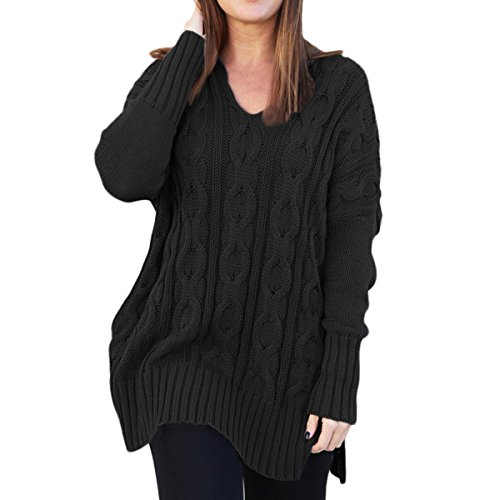 Ksenia Women Casual V Neck Oversized Knitted Baggy Loose Fit Knit Sweater Pullover Top Black Medium (Casual Colored Imported Multi)