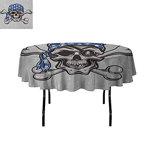 Skull Washable Tablecloth Scallywag Pirate Dead Head Grunge Horror Icon Evil Sailor Crossed Bones Kerchief Dinner Picnic Home Decor D70 Inch Blue Grey Black -