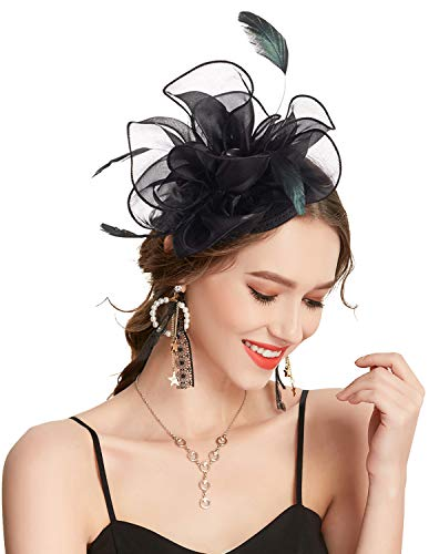 Z&X Fascinator Hat Flower Feathers on Headband and Clip Tea Party Headpiece for Ladies Girls Black