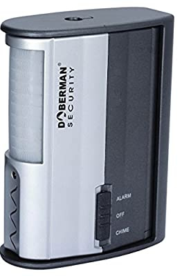 DOBERMAN SECURITY Motion Alarm Detector with Infrared Sensor and Loud 100dB Alarm OR Chime – Features Long Battery Life + Adjustable Mount Allows Wide Coverage – Perfect for Home, Office, Garage, or Any Rooms– Model SE-0104