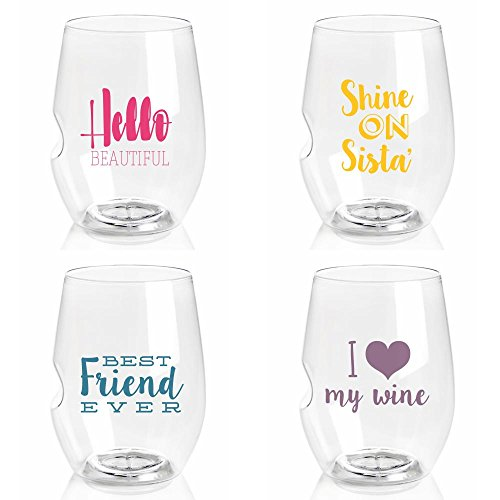 Govino 'Charmed' Series 16 Ounce Top-rack Dishwasher Safe Wine Glasses 4 Pack (GIRLFRIEND LOVE) (Glasses Fun Wine)