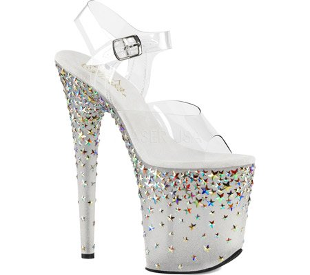 Pleaser Women's Stplash808/C/B Platform Sandal Clear and Frost UK2R6rEJ