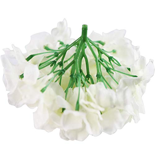 BigOtters Artificial Hydrangea, 10PCS White Hydrangea Silk Flower Heads with Long Stems for DIY Floral Decor Home Decoration Wedding Centerpieces Bouquets