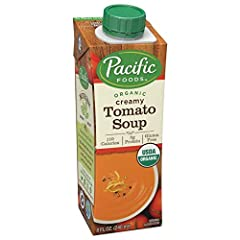 Pacific Foods Organic Creamy Tomato Soup, 8 Ounce -- 12 per case. Fresh organic milk from local dairies is a perfect complement to the tangy sweetness of organic tomatoes. A little garlic and onion round out the flavor and add depth to this w...