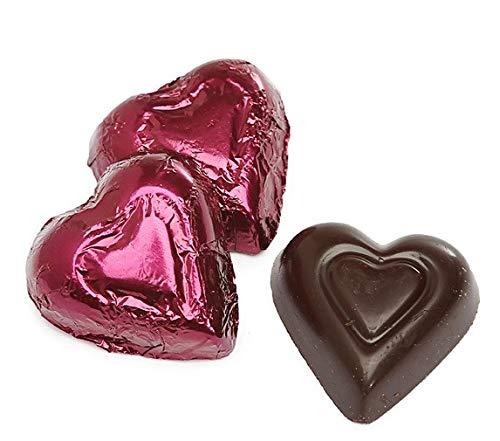Dark Chocolate Burgundy Color Foiled Hearts - 1 LB Premium Chocolate, 60 Pieces