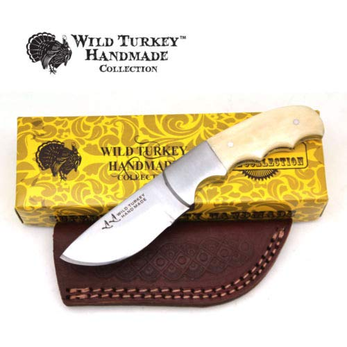 (Wild Turkey Handmade Collection Full Tang Bone Handle Fixed Blade Skinner Knife w/Leather Sheath (B))