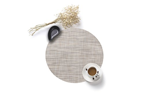 HYSENM 4 Pack Round Stain Resistant Heatproof PVC 35CM Dining Table Mats Placemats, beige