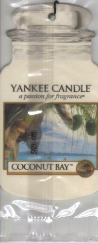 Yankee Candle Car Jar Classic Cardboard Car Home and Office Hanging Air Freshener Coconut Bay Scent Pack of 3 - Pack Car Jars
