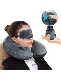 Almohada de Viaje Inflado rápido presionando el botón en cualquier lugar o en cualquier momento Inflable Lavable a Máquina Cubrir Cuello Apoyo con máscara para dormir para avión tren oficina escuela