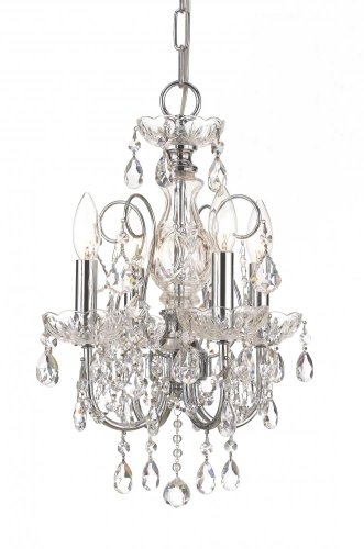 Crystorama 3224-CH-CL-MWP Crystal Four Light Mini Chandeliers from Imperial collection in Chrome, Pol. (Crystorama Lighting Chandelier)