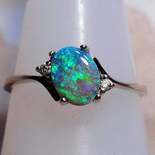 - Dokis Women Vintage Green Fire Opal Gems 925 Silver Wedding Engagement Ring Size 5-11 | Model RNG - 16981 | 10