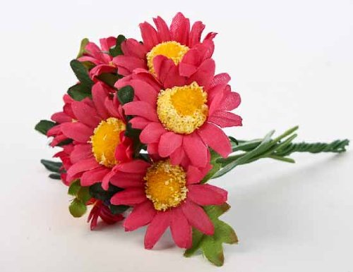 ht Artificial Cranberry African Daisy Bouquets- 2 Packs of 6 Bouquets- 12 Total Miniature Bouquets (Six Miniatures)