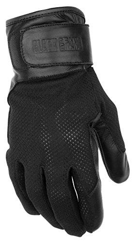 Black Brand Men's Leather/Mesh High Flow Motorcycle Gloves (Black, XX-Large)
