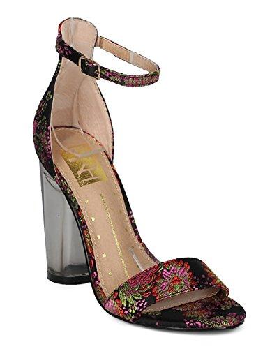 Sandalo Alrisco Donna Con Tacco Largo Di Blocco - Cinturino Alla Caviglia Con Tacco Lucite - Tacco Grosso Formale Da Cerimonia Speciale Formale - Hd97 By Fahrenheit Collection Black