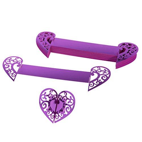 MonkeyJack 50pcs Heart Paper Napkin Ring Holders Home Wedding Party Table Dinner Decorations - Purple, 21.4 x 6.1cm