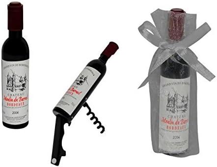 """Lote de 20 Abridores-Sacacorchos""""Botella Vino"""" en Bolsas de Tull Lisas. Destapadores. Detalles de Boda y Eventos."""