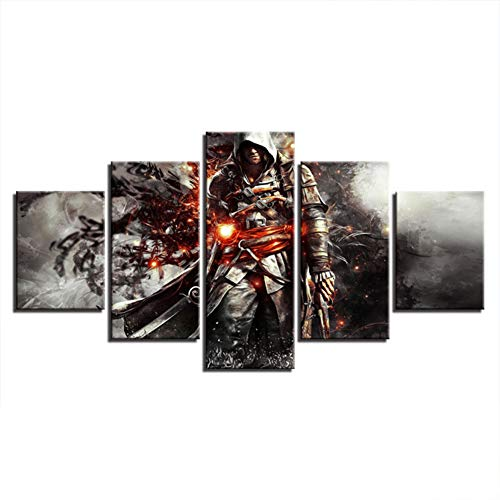 Karrnta Image Printed on Non Woven Canvas 3D Anime Background Painting Assassin's Creed Anime Comics Poster Wall Art Poster Print Living Room Home Decoration Frameless,D,10x15x2+10x20x2+10x25x1