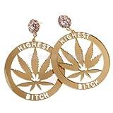 Hip Hop Big Rhinestone Stud Earrings Acrylic Marijuana Dangle Earrings