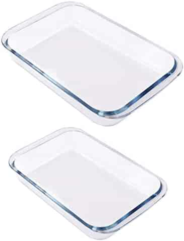 Utopia Kitchen- Borosilicate Glass Oblong Baking Dishes 2-Pack Glass Bakeware - 1.8L (11.5 x 7 x 2 Inch) & 2.4 L (13.5 x 8 x 2 Inch) - Dishwasher Safe & Oven Friendly