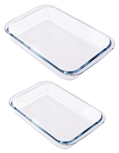 Borosilicate Glass Oblong Baking Dishes 2-Pack Glass Bakeware – 1.8L (11.6 x 7.1 x 2 Inch) & 2.4L (13.5 x 8.2 x 2 Inch) – Dishwasher Safe & Oven-Friendly – By Utopia Kitchen