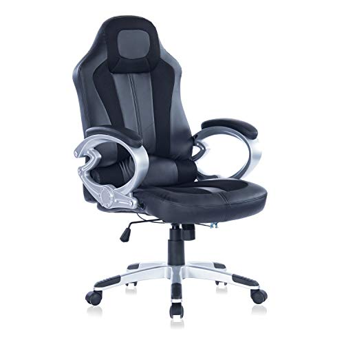 Ergonomic Gaming Chair High Back Racing Style Chair Executive Office Chair PU Leather Computer Desk Chair Mesh Bucket Seat and Lumbar Support (Black) by Blue Whale