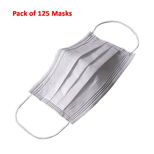 (125ct Box) Disposable Filter Mask 3 Ply Earloop Medical Dental Surgical Hypoallergenic Breathability Comfort