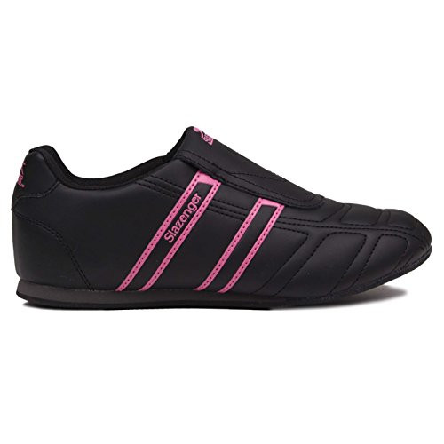 Slazenger Warrior Damen Turnschuhe Slip On Fashion Sport Schuhe Sneaker Slipper Black/Cerise