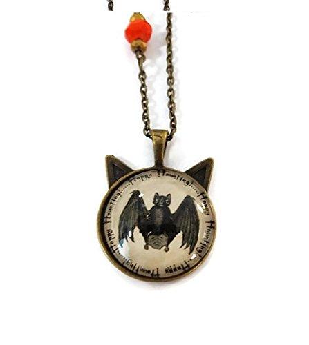 Bat Pendant Necklace - Happy (Burton Black Necklace)