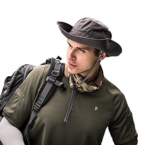 Lakkio Unisex Outdoor Fishing Hat,Super Thin Boonie Hats,Quick-Drying UV Protection Hat for Men and Women,for Survival,Hunting,Camping,Hiking,Travel,Wide Brim Cap,Outside Gear-GR
