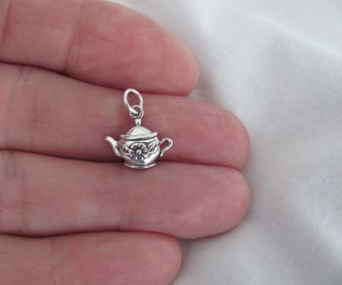 (Sterling Silver teapot small charm.Jewelry Making Supply Charm, Bracelets and More by Wholesale Charms)
