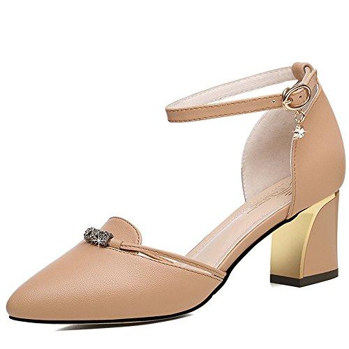 en Chunky pour Talon CN35 Couleur Sandales 6 UK3 femmes Confort air plein confortable Apricot confortable été Printemps pour marcher Noir cm Taille Élégant et 5 Boucle pour EU36 femme qX0Xp6Z