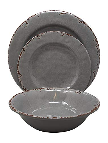 Gianna's Home 12 Piece Rustic Farmhouse Melamine Dinnerware Set, Service for 4 (Gray) (Dinnerware Pottery Sets Rustic)