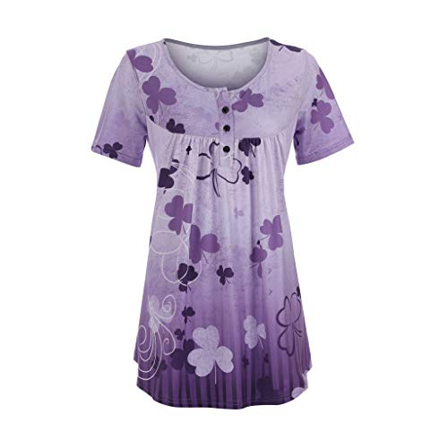 FACAIAFALO Women's V-Neck Summer Print Short-Sleeved Casual Loose Windproof Shirt T-Shirt (Rugby Accent 36')