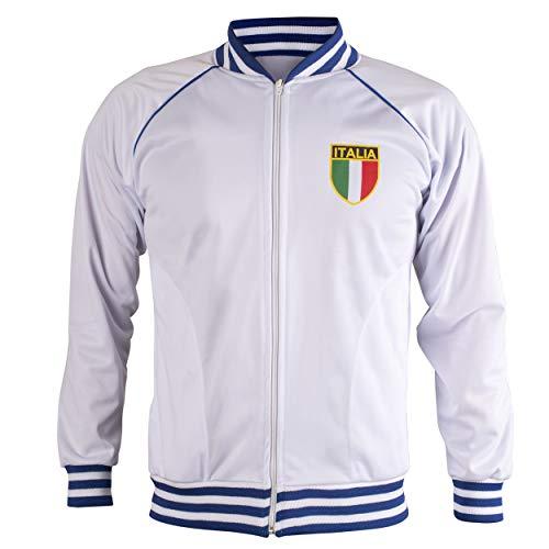 Italy/Italia Jacket Retro Football Tracksuit Zipped Jacket Men Top - S White